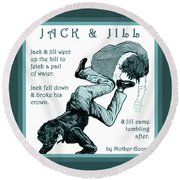 Jack And Jill Vintage Mother Goose Nursery Rhyme Round Beach Towel by Marian Cates