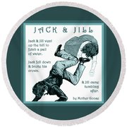 Jack And Jill Vintage Mother Goose Nursery Rhyme Round Beach Towel