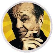 Jack Nicholson 3 Round Beach Towel by Semih Yurdabak