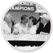 Jack Nicklaus And Wife Round Beach Towel