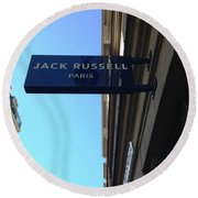 Jack Russell Paris Round Beach Towel by Therese Alcorn