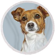 Round Beach Towel featuring the drawing Jack Russell Terrier by Donna Mulley