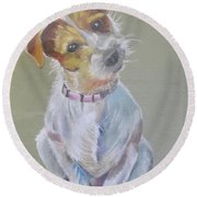 Jack Russell Watching You Round Beach Towel