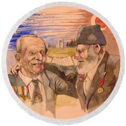 Round Beach Towel featuring the painting Jack Ryan And Hyseyin Kacmaz by Ray Agius