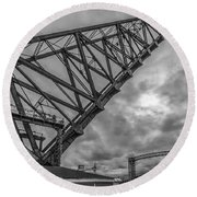Jackknife Bridge To The Clouds B And W Round Beach Towel