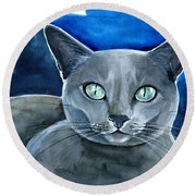 Jackpot - Russian Blue Cat Painting Round Beach Towel