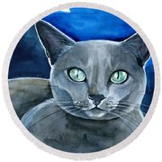 Jackpot - Russian Blue Cat Painting Round Beach Towel