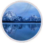 Jackson Lake Panorama Round Beach Towel