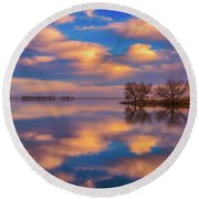 Round Beach Towel featuring the photograph Jackson Lake Sunset by Darren White