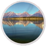 Jackson Lake Tetons Refection Round Beach Towel