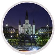 Jackson Square And St. Louis Cathedral At Dawn, New Orleans, Louisiana Round Beach Towel