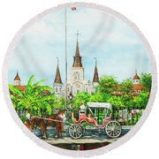 Jackson Square Carriage Round Beach Towel