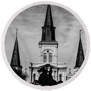 Jackson Square - Monochrome Round Beach Towel