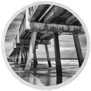 Jacksonville Beach Florida Usa Pier Round Beach Towel by Vizual Studio