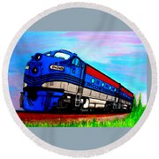 Round Beach Towel featuring the painting Jacob The Train by Pjohn Artman