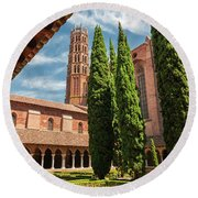Jacobin Convent In Toulouse Round Beach Towel