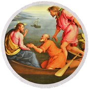 Round Beach Towel featuring the photograph Jacopo Bassano Fishes Miracle by Munir Alawi