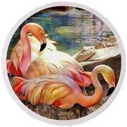 Jacqueline's Flamingos Round Beach Towel