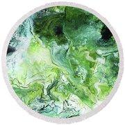 Jade- Abstract Art By Linda Woods Round Beach Towel