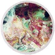 Jade Rhapsody - Abstract Art By Linda Woods Round Beach Towel