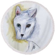 Jade The Cat Round Beach Towel