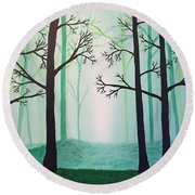 Jaded Forest Round Beach Towel