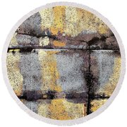 Round Beach Towel featuring the painting Jagged Lavendar by Maria Huntley