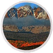 Round Beach Towel featuring the photograph Jagged Peaks Fall by Scott Mahon