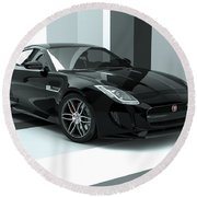 Jaguar F-type - Black Retro Round Beach Towel