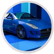 Jaguar F-type - Blue Retro Round Beach Towel