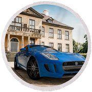 Jaguar F-type - Blue - Villa Round Beach Towel