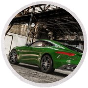 Jaguar F-type - British Racing Green - Rear View Round Beach Towel