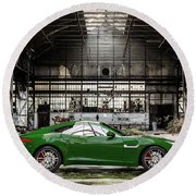 Jaguar F-type - British Racing Green - Side View Round Beach Towel