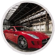 Jaguar F-type - Red - Front View Round Beach Towel