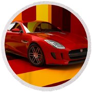 Jaguar F-type - Red Retro Round Beach Towel