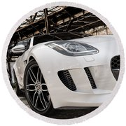 Jaguar F-type - White - Front Close-up Round Beach Towel