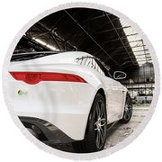 Jaguar F-type - White - Rear Close-up Round Beach Towel