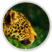 Jaguar In The Grass Round Beach Towel