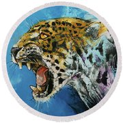 Jaguar Round Beach Towel by Michael Creese