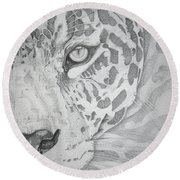 Jaguar Pointillism Round Beach Towel by Mayhem Mediums