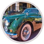 Round Beach Towel featuring the photograph Jaguar Xk Classic by Dan McManus