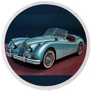 Jaguar Xk140 1954 Painting Round Beach Towel by Paul Meijering
