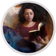 Jaidyn Reading A Book 1 - Portrait Of Young Woman - Girls Who Read - Books In Art Round Beach Towel
