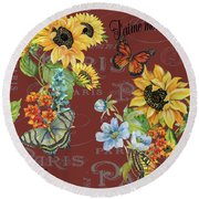 Round Beach Towel featuring the painting Jaime Mon Jardin-jp3988 by Jean Plout