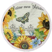 Round Beach Towel featuring the painting Jaime Mon Jardin-jp3990 by Jean Plout