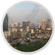 Jakarta Urban Skyline In Indonesia Round Beach Towel
