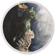Jake And The Ancestors-pet Portrait Round Beach Towel