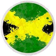 Jamaica Flag Paint Splatter Round Beach Towel