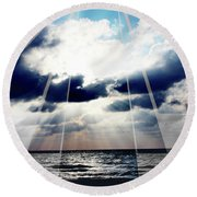 Jamaica Sunset Art Deco Bw With Color Round Beach Towel