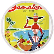 Jamaica, West Indies, Vintage Travel Poster Round Beach Towel